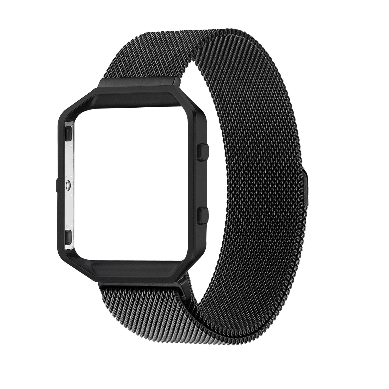 "Fitbit Blaze Accessories Band Large, UMTele Rugged Metal Frame Housing with Magnet Lock Milanese Loop Stainless Steel Bracelet Strap Band for Fitbit Blaze Smart Fitness Watch Black (6.1""-9.3"")"