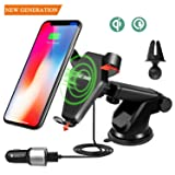 Wireless Fast QI Charger Car Mount Air Vent Dock Phone Holder Cradle (Gravity Linkage) for iPhone 8/8 Plus/X, Android, Nokia, Samsung Galaxy Note 5/8/S8+/S7/S6 Edge+ GOOD FOR HOME & OFFICE