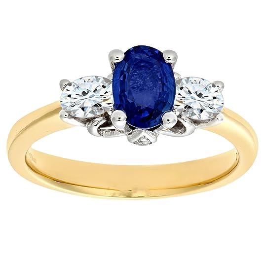 Naava Ladies 18ct Yellow Gold 5 Stone Diamond and Saphire Ring