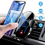Wireless Car Charger Mount, Mikikin Auto-Clamping Qi 10W 7.5W Fast Charging Car Phone Holder Air Vent Compatible with iPhone X/XR/Xs/Xs Max/8/8 Plus, Samsung S6/S7/S8/S9 Edge+, Note 7/Note 8 & More (Color: Black)