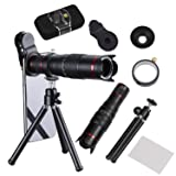 Camera Lens,BECEMURU 22X Telephoto Zoom Camera Lens Kit Double Regulation HD Scale Distance FOV Phone Lens Attachment with Tripod for iPhone X/8/7/7 Plus/6s/6/5,Samsung Galaxy/Note Smartphone (DN0099) (Color: 3 In 1)