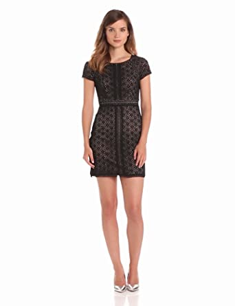 maxandcleo Women's Short Sleeve Lace Dress, Black, 2