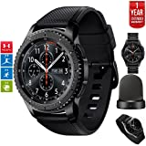 Samsung Gear S3 Frontier Bluetooth Watch with Built-in GPS Dark Gray (SM-R760NDAAXAR) with Wireless Charger Bundle + Wrist Band Black + 1 Year Extended Warranty (Color: Gray)