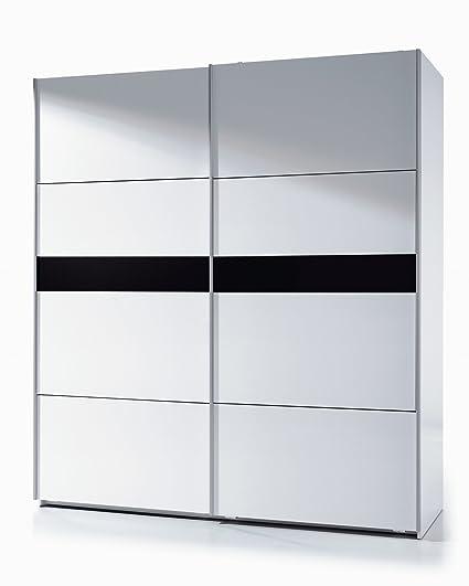 Habitdesign ARC185BO - Armario 2 puertas correderas, color Blanco y Negro Brillo, dimensiones: 200 x 180 x 63cm