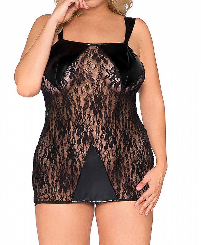 Damen XXL Dessous wetlook Chemise Negligee in schwarz erotisches Nachtkleid mit Spitze günstig