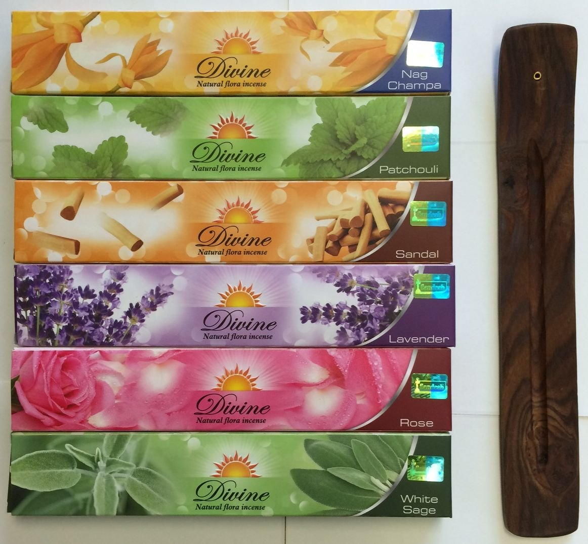 Valentine's Gift Set of 6 Nag Champa Sandalwood Patchouli Rose Lavender and White Sage Incense Kit