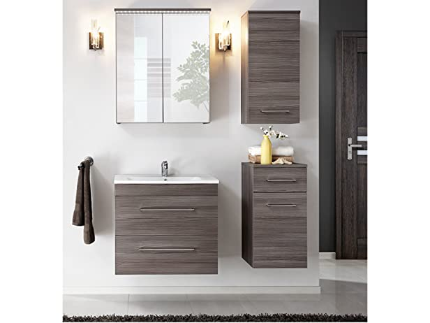 Set mobili da bagno COMOS Alova con lavandino - Marrone, Spiegel,Waschtisch & zwei kleine Schraenke 60 cm