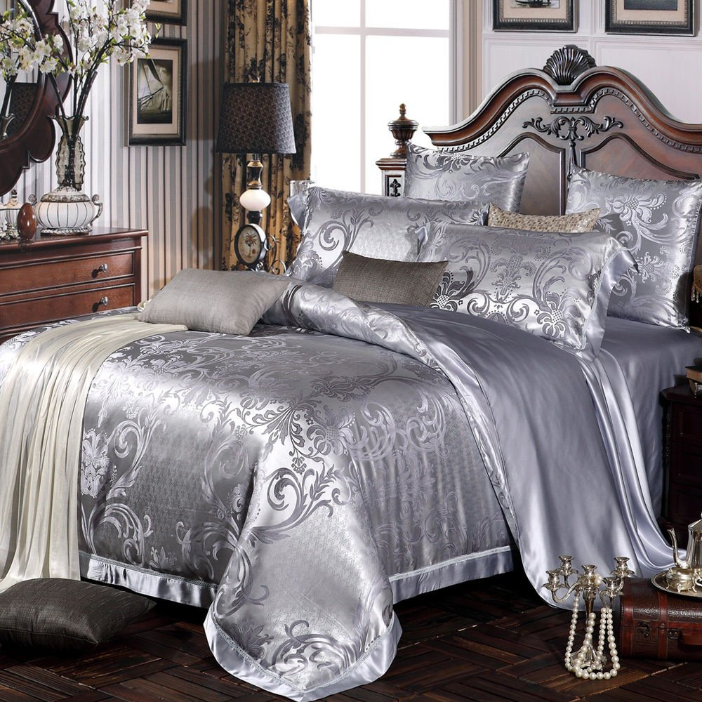 Bingirl 5pcs Silk Bedding Sheets Set Seamless 22mm 100 Mulberry Silk Jacquard California King
