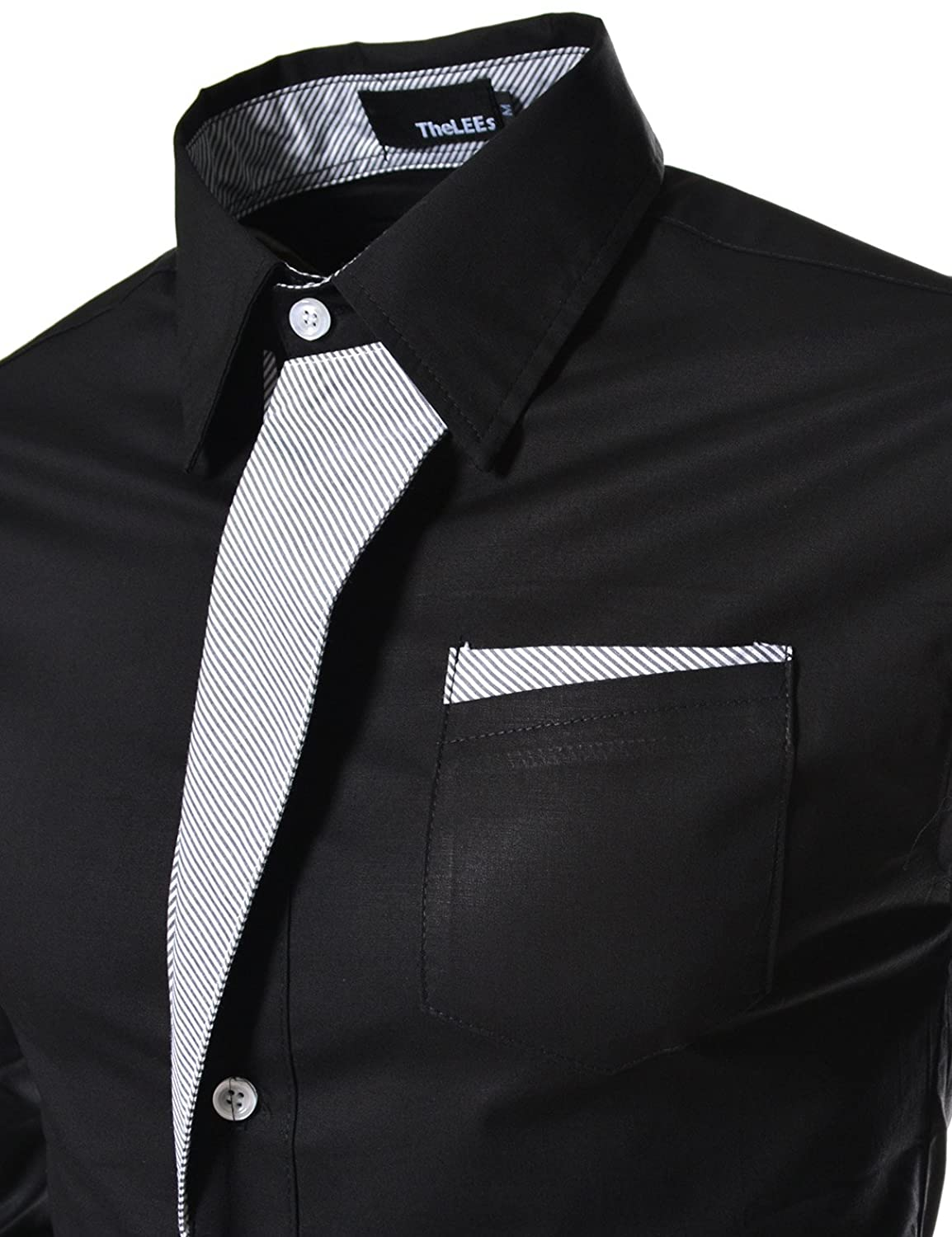 TheLees Mens Casual Long Sleeve Stripe Patched Fitted Dress Shirts at Amazon Men�s Clothing store