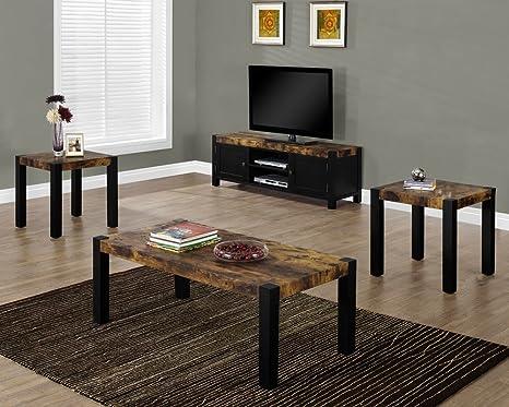 Monarch Black Reclaimed Wood Look Coffee Table Set