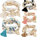 yunanwa 5 Pack Multilayer Bohemian Beaded Bangle Bracelet Crystal Charm Stretch Beach 7 PCS Set Boho Jewelry (5 Pack-0051) (Color: Red)