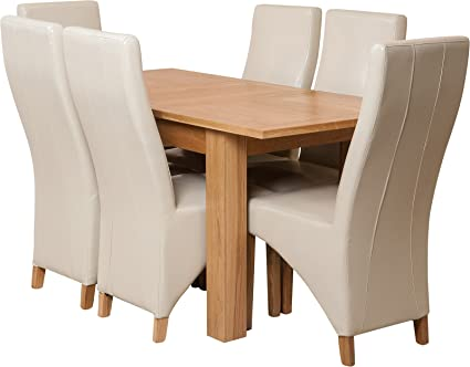 Hermosa Windsor Extendable Dining Table and 6 Lola Chairs with Lacquer Finish, Solid Oak/Leather, Ivory, Small, 120 x 80 x 76 cm