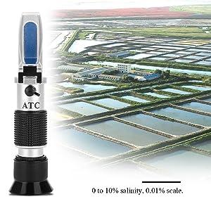 Yosoo Refractometers Salinometer, Seawater Salinity Meter Aquarium Optics Refractometer Temperature ATC Digital 0-10% Refractometers Salinometers Aquarium Sea Water Brine Hydrometer Measurement Tool