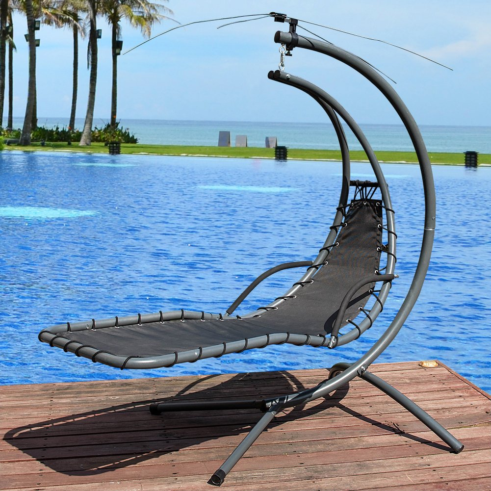 Lazy Daze Hammocks Dream Chair with Umbrella Hanging Chaise Lounge Chair Arc Curved Hammock (Dark Green)