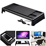 Yescom Monitor Rise Stand Desktop Storage Organizer Computer Laptop Office w/ USB Ports