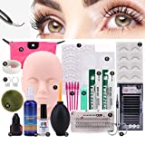 Pro 19pcs False Eyelashes Extension Practice Exercise Set, Professional Head Model Lip Makeup Eyelash Grafting Training Tool Kit for Makeup Practice Eye Lashes Graft (Tamaño: 19PCS)