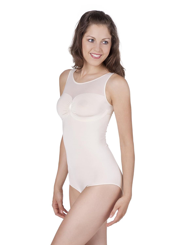 belly cloud Damen Body figurformender seamless Body mit transparentem Dekolleté günstig online kaufen