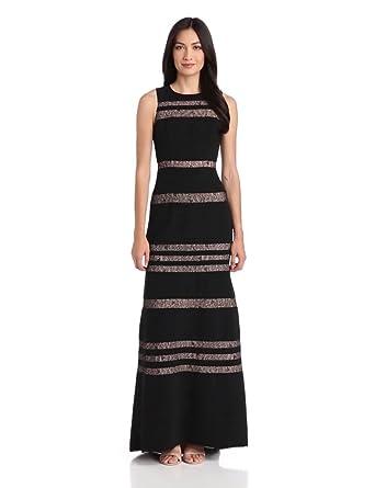 BCBGMAXAZRIA Women's Katiana Sleeveless Evening Gown with Lace Inse, Black, 0