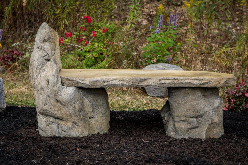 Garden Bench Basalt Stone Boulder Bench with Back, Cast Stone Rustic Lounge Bench, Outdoor Garden Patio Bench, 3 Piece Hand Sculpted Rock Garden Bench Outdoor Decor