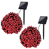 Joomer 2 Pack Solar String Lights 72ft 200 LED 8 Modes Solar Powered Christmas Lights Waterproof Decorative Fairy String Lights for Garden, Patio, Home, Wedding, Party, Christmas(Red) (Color: Red, Tamaño: 2 Pack)