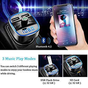 Bluetooth FM Transmitter, Vproof in-Car Wireless Radio Transmitter Adapter Music Player Car Kit W Blue Circle Ambient Light, 2 USB Ports, Hands Free Calling, SD Card & USB Flash Drive Support (Black) (Color: Black)