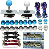 Tongmisi Arcade DIY LED Kit with Zero Delay USB Encoder to PC Arcade Games 8 Way Joystick + 5V LED Illuminated Arcade Push Buttons (Blue and White) (Color: Blue and White)