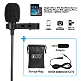 TONOR Lavalier Microphone, Lapel Interview Omnidirectional Condenser Shirt Mic with 2m Extended Wire for iPhone, Android, Other Smartphones and Camera