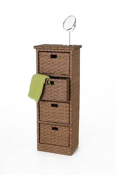 """'Vivanno Armario cómoda con 4compartimentos """"Ordena Polirratán, 114cm, color marrón"""