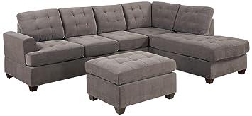Bobkona Austin 3-Piece Reversible Sectional with Ottoman Sofa Set, Charcoal