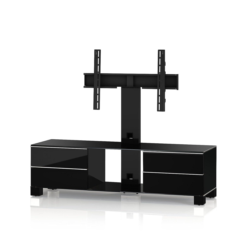 Sonorous MD 8540-B-HBLK-BLK Fernseher-Möbel mit Schwarzglas (Aluminium Hochglanz/Korpus Hochglanzdekor) schwarz