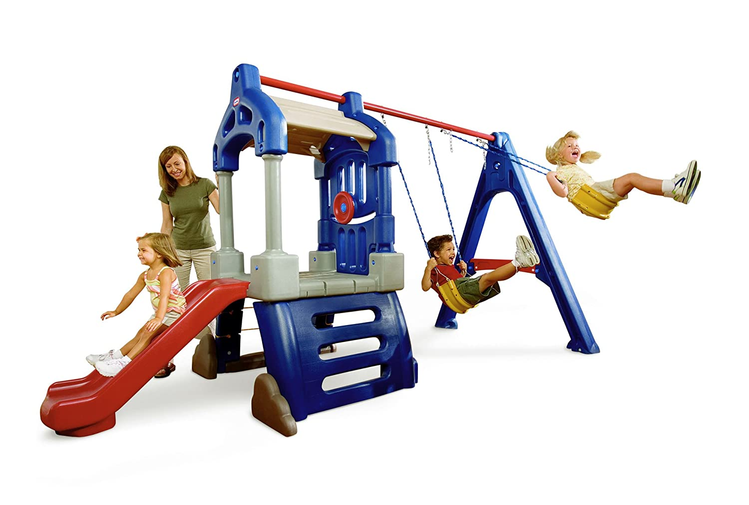 Walmart Outdoor Toys : Playhouse swing slide climbing wall rope ladder set kids
