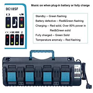 Biswaye 4-Port 18V Lithium-Ion Charger DC18SF for Makita 14.4V-18V Lithium Battery BL1830 BL1840 BL1850 BL1860 BL1815 BL1430, Replace Makita DC18SF DC18RC DC18RD DC18RA Rapid Charger (Color: black and blue)