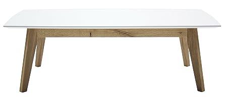 Tenzo 2189-001 Bess Designer tavolino da salotto, 38 x 120 x 60 cm, bianco/quercia