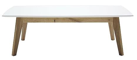 Tenzo 2189-001 Bess mesa de centro de diseño, 38 x 120 x 60 cm, blanco/roble