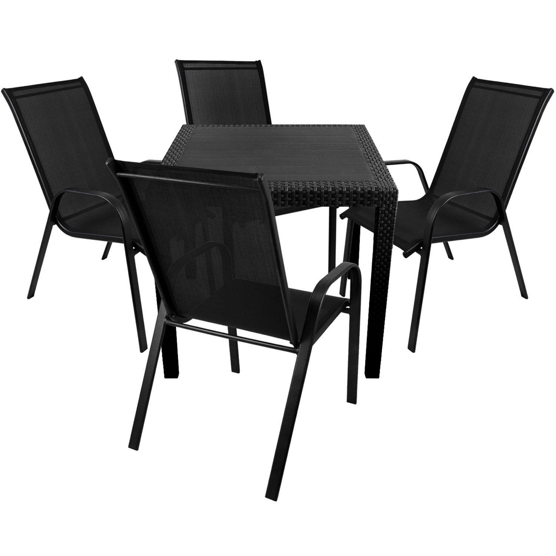 5tlg. Terrassenmöbel Set Kunststoff Gartentisch Rattan-Look 79x79cm + 4x Gartenstuhl Stapelstuhl 2×1 Textilenbespannung Sitzgruppe Sitzgarnitur Gartenmöbel Gartengarnitur Balkonmöbel jetzt bestellen