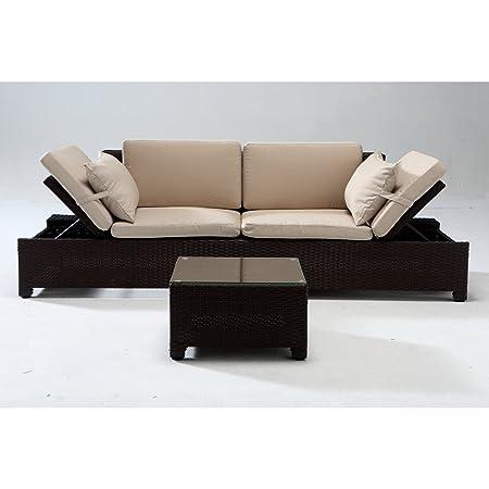 El Acclimati-Juego de mesa y sillas de jardín, asiento, de resina trenzada, color marrón chocolate