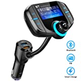 Comsoon Bluetooth FM Transmitter, Wireless In-car Radio Adapter Car Kit with Quick Charge 3.0 + 5V/2.4A Smart IC Dual USB Car Charger, 1.80 Inch LCD Display, TF Card Slot, AUX Input/Output (Color: black)