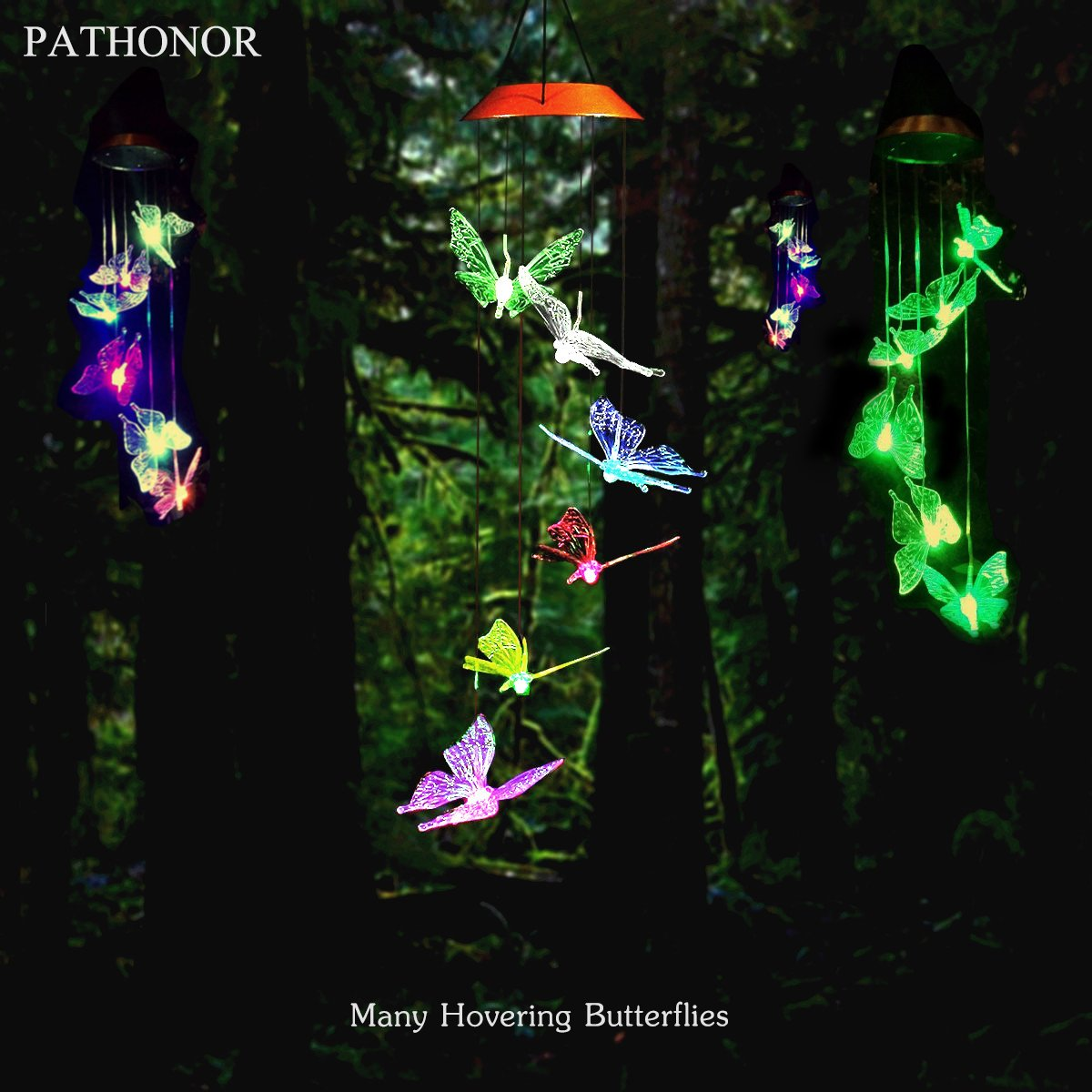 Solar Led Butterfly Wind Chimes, PATHONOR Color-changing Wind Chime Waterproof Automatic Light Sensor Outdoor Decor for Home Party Balcony Porch Patio Garden, Upgraded Version