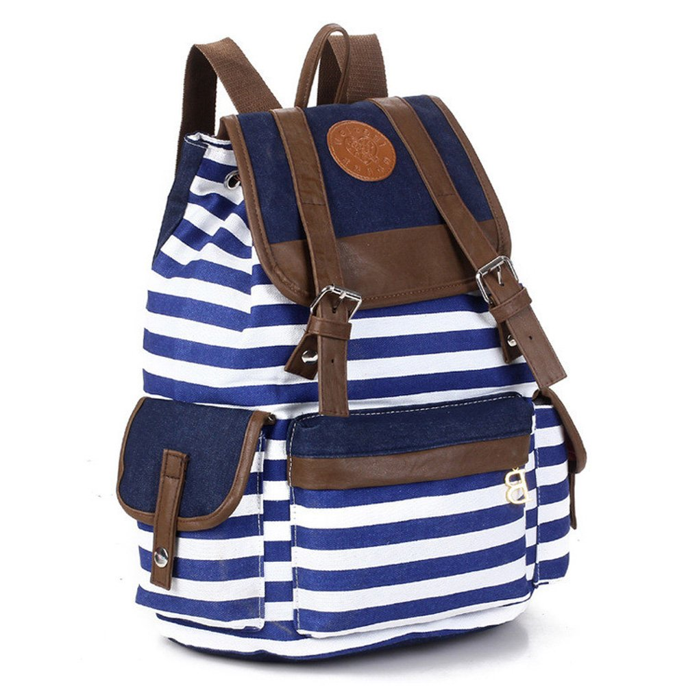 School bag for girl - Rbenxia Unisex Canvas Backpack School Bag Super Cute Stripe School College Laptop Bag For Teens Girl Amazon In Sports Fitness Outdoors