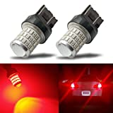 iBrightstar Newest 9-30V Super Bright Low Power Dual Brightness 7440 7443 T20 LED Bulbs with Projector replacement for Tail Brake Lights, Brilliant Red (Color: Brilliant Red, Tamaño: 7443)