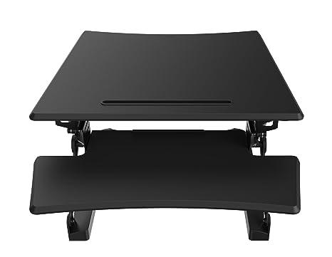 Petit Sit–Support réglable en hauteur de bureau Station | Support ergonomique de bureau simple Moniteur (Petit) Noir 680mm x 580mm