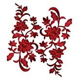 2pcs Red Flowers Iron On Patches Garment Applique Embroidery DIY Accessory Cheongsam Skirt Clothes (Color: Red A)