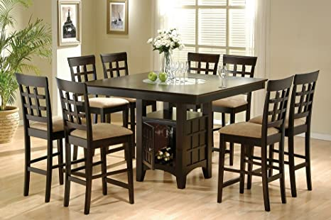 Counter Dining Table with Storage Pedestal Base