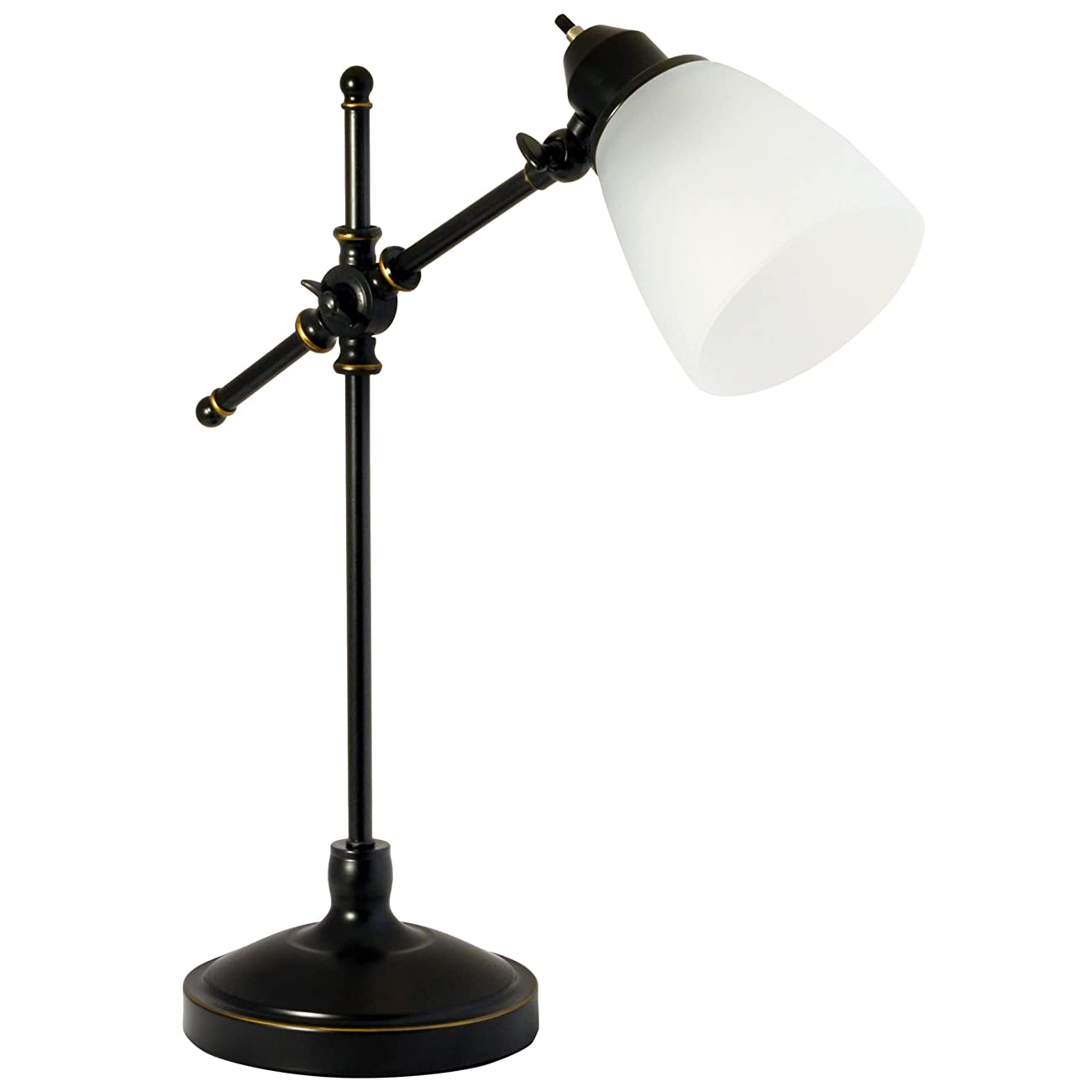 Light Accents Antique Style Desk Lamp with Black with Gold Trim and Frosted White Glass Shade Desk Light 0