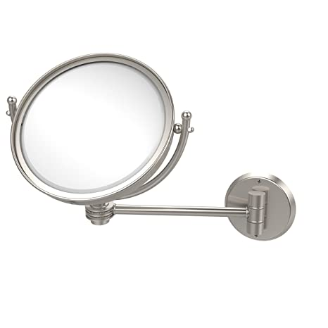 Allied Brass WM-5D/4X-SN 8-Inch Wall Mounted Make-Up Mirror with 4x Magnification, Satin Nickel