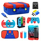 Accessories Kit Bundle for Nintendo Switch, YUANHOT Cover Case Hand Grip Controller Charger Steering Wheel Stand Carrying Case Silicone Case Card Case Compatible for Nintendo Switch (21 In 1)