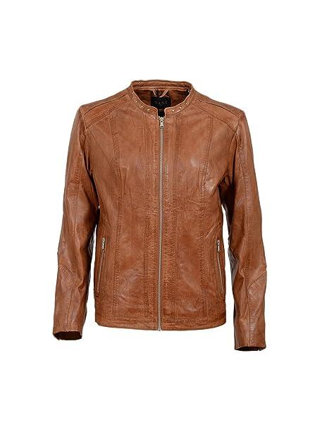 Hochwertige Saki Damen Lederjacke Bikerjacke Cognac Echtleder