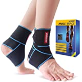 Ankle Brace, Husoo Breathable Ankle Support with Anti-Bacterial Fabric, Compression Ankle Wrap for Sports Protect, Ankle Sprain, Plantar Fasciitis, Injury Recovery, One Size Fits All (2 Pieces) (Color: blue)