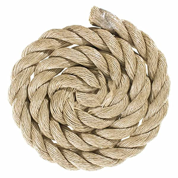 GOLBERG G ProManila Rope (1 1/2 Inch, 25 Feet) Tan Twisted 3 Strand Polypro Cord - Marine, Nautical, DIY Projects, Tie Downs (Color: Tan, Tamaño: 1 1/2 Inch x 25 Feet)