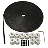 Drillpro 10Pcs 6mm 20Teeth Timing Pulley Wheel+GT2 10 Meters Timing Belt for 3D Printer (Color: 10 Pcs Timing Belt Pulley)